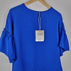 Blue Women Blouse with puff sleeves - Stradivarius (1)