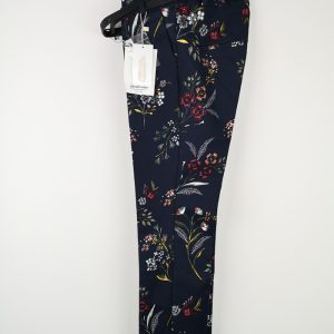 Navy Blue Trousers with flowers - Stradivarius (1)