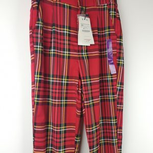 Red Tartan Womens Trousers - Stradivarius (1)
